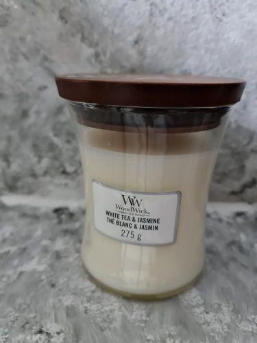 Svíčky kulaté velké s praskajícím knotem malá 275 g - White Tea & Jasmine