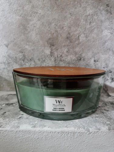 Svíčky loďky s dřevěným víkem 453 g - Sage & Myrrh